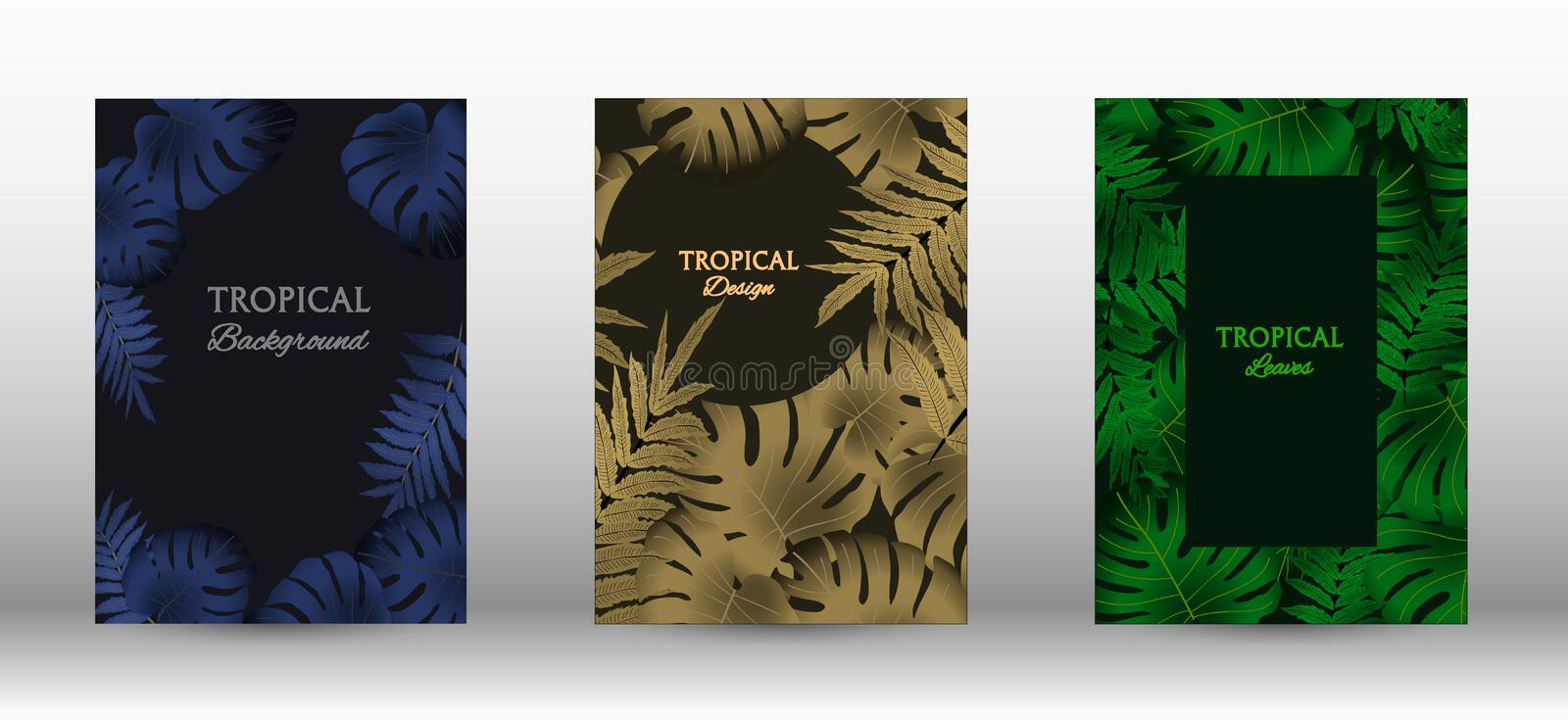 A set of tropic. Tropic covers set.  Colorful tropical leaves patterns. Exotic botanical design. Modern Front Page in Vector stock illustration