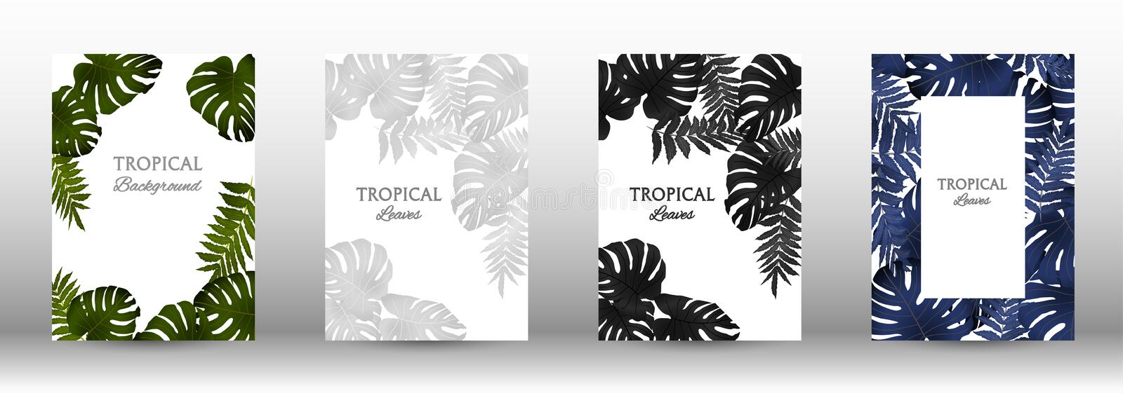 A set of tropic. Tropic covers set.  Tropical leaves banners background. Summer graphic background. Modern Front Page in Vector vector illustration
