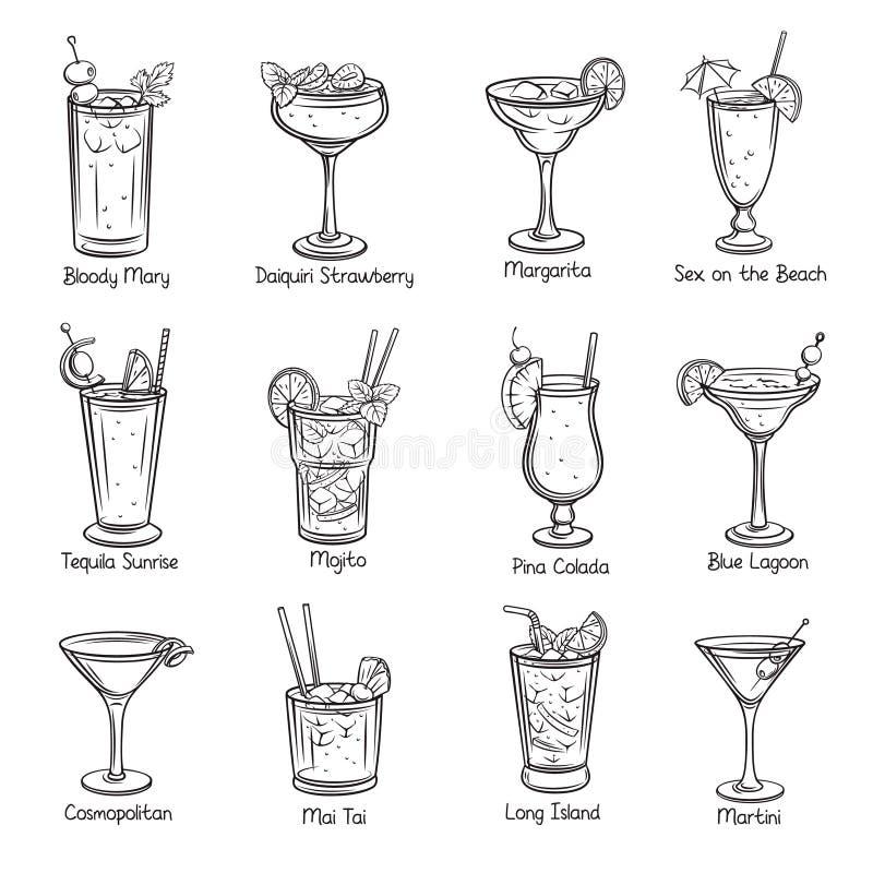 Set of tropical cocklails stock illustration