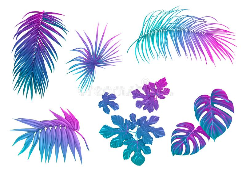 Set of tropical leaves in nein colors royalty free illustration