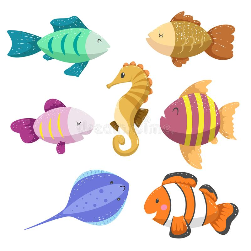Set of tropical sea and ocean animals. Seahorse, clown fish, stingray and different types of fish. Wildlife and tropic reef vector illustration icons stock illustration