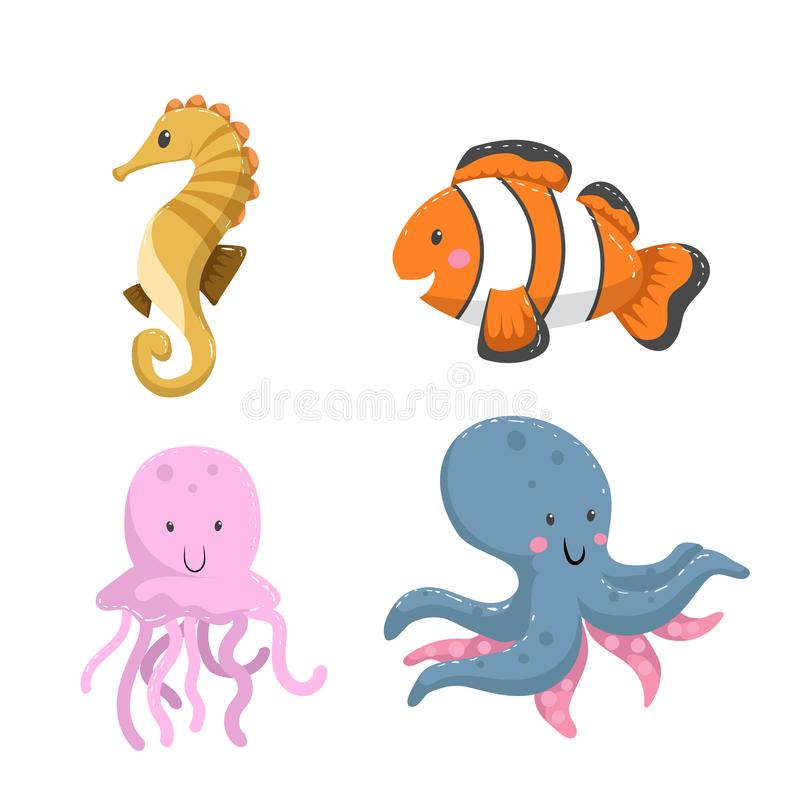 Set of tropical sea and ocean animals. Seahorse, clownfish, jellyfish, octopus. Wildlife vector illustration icons royalty free illustration