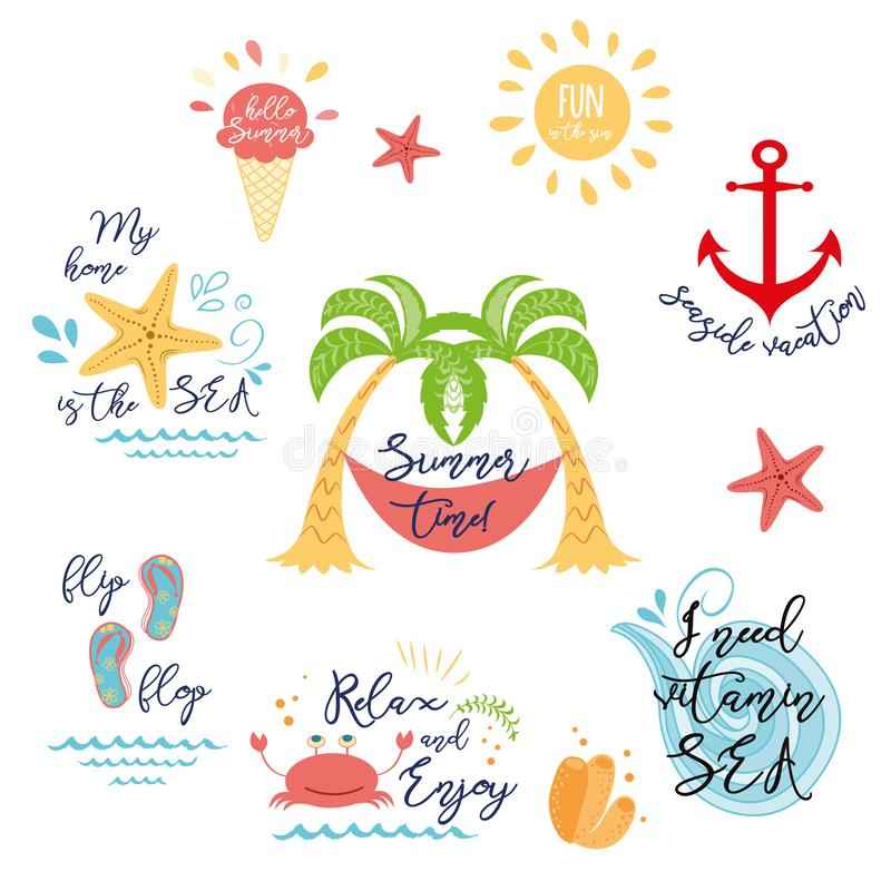 Set of tropical summer vacation icons, logos in Summer design, greeting card 向量例证