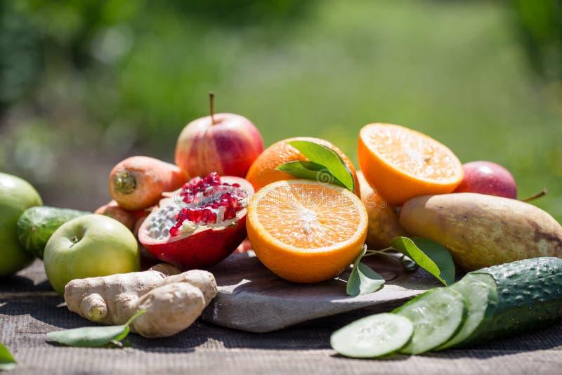 Set tropikalne owoc kolorowe i świeży lato, zdrowi foods Wiele dojrzała owoc mieszał na zielonym naturalnym tle zdjęcie royalty free