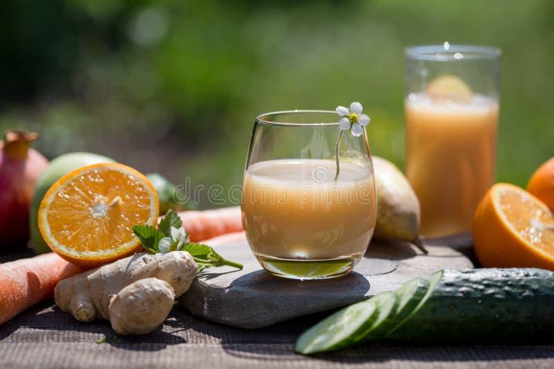 Set tropikalne owoc kolorowe i świeży lato, zdrowi foods Wiele dojrzała owoc mieszał na zielonym naturalnym tle fotografia stock