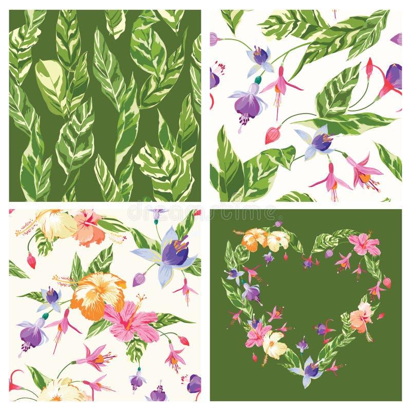 Set Tropikalni tła royalty ilustracja
