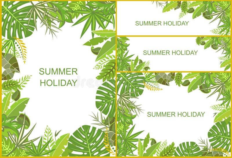Set tropikalni zieleni tła ilustracji