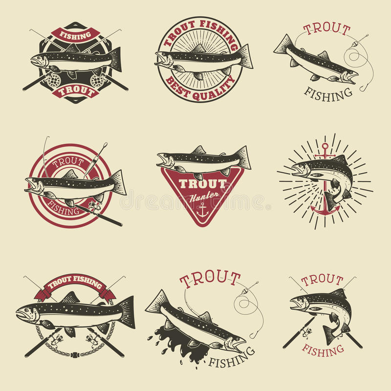 Set of trout fishing labels. Fishing club, team emblems template. S. Vector illustration royalty free illustration