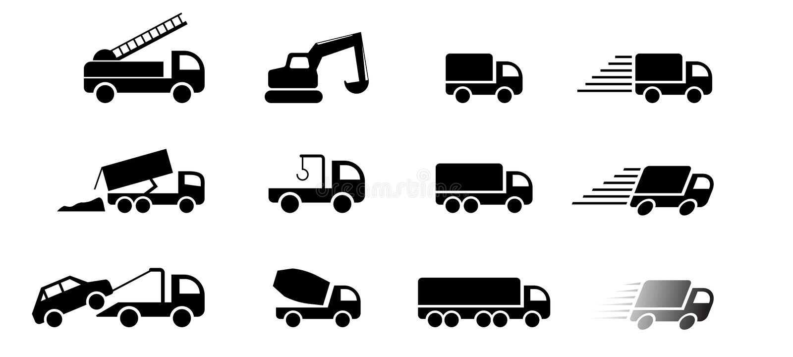 Set of truck service icon and sign, vector art stock illustration