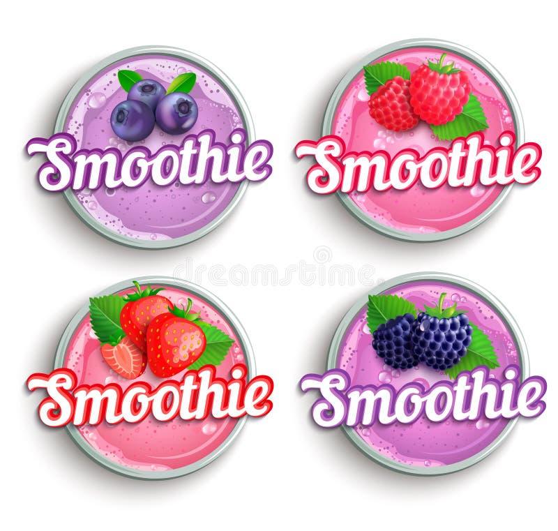 Set truskawka, czernica, malinka, czarnej jagody smoothie ?wie?y logo ilustracja wektor