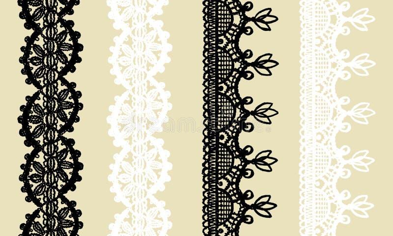 Set trykotowa koronki granica: 2 czarny i 2 biały bezszwowy wzór odizolowywający na beżowym tle ilustracja wektor