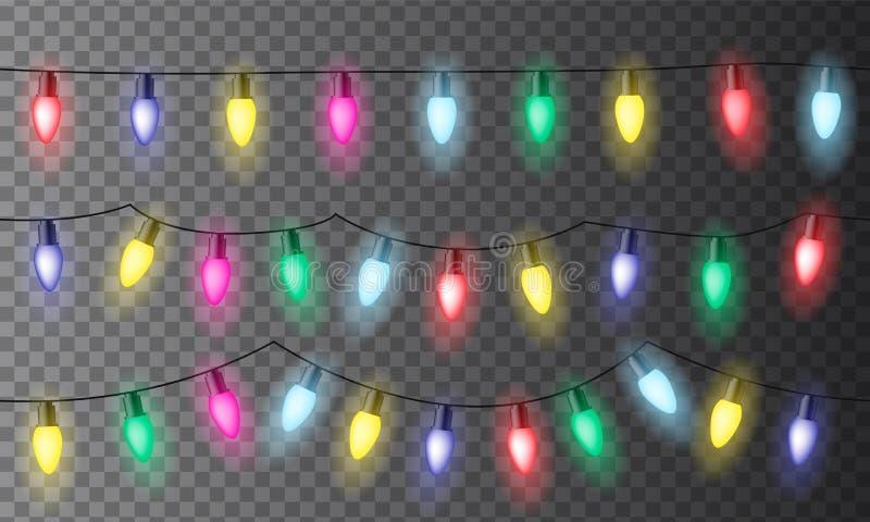 Set trzy łańcuchu kolorowi bożonarodzeniowe światła lub świętowanie obrazy royalty free