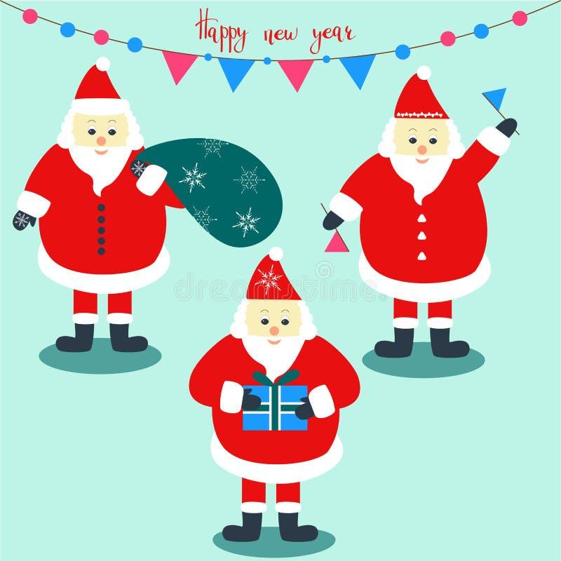 Set trzy Święty Mikołaj z wakacyjną dekoracją royalty ilustracja