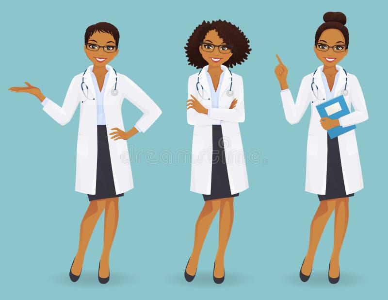Set trzy żeńskiej lekarki w różnych pozach royalty ilustracja