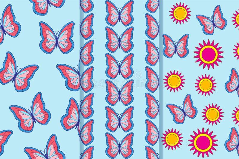 Set trzy bezszwowego wzoru z motylami i kwiatami w jeden stylu Może używać dla płytki, tapeta, tkaniny, opakowanie, zdjęcie stock