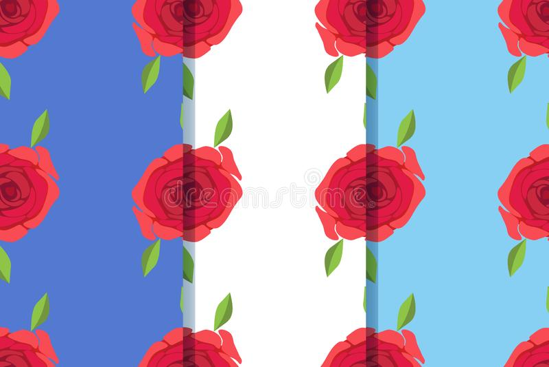 Set trzy bezszwowego wzoru z pięknymi różami w jeden stylu Może używać dla płytki, tapeta, tkaniny, opakowanie, karta, pokrywa ilustracji