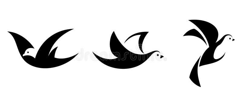 Set trzy czarnej sylwetki latający ptaki również zwrócić corel ilustracji wektora ilustracji