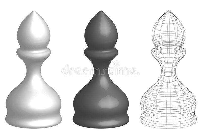 Set trzy 3d szachy biskupa ilustracja wektor