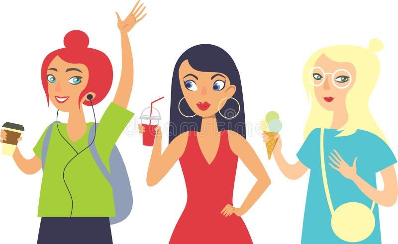 Set trzy dziewczyna modnisiów charakteru ilustracja wektor