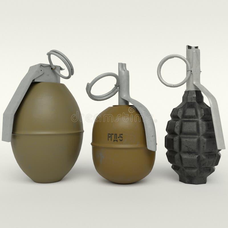 Set trzy granata: RGD-5, F-1, M26 obraz royalty free