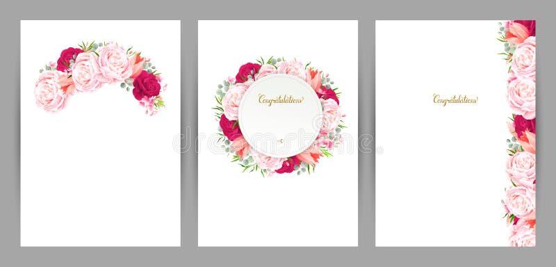 Set trzy gratulacyjnej karty z kwiatu składem Kwitnące różowe róże i tulipan tworząca gałąź, rama i royalty ilustracja