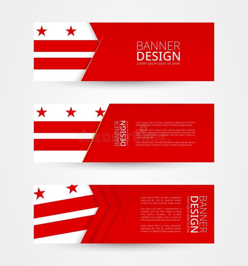 Set trzy horyzontalnego sztandaru z flagą dystrykt kolumbii Sieć sztandaru projekta szablon w kolorze dystrykt kolumbii ilustracja wektor