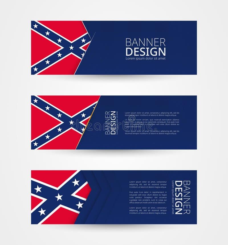 Set trzy horyzontalnego sztandaru z flagą konfederat Sieć sztandaru projekta szablon w kolorze Konfederacyjna flaga ilustracja wektor