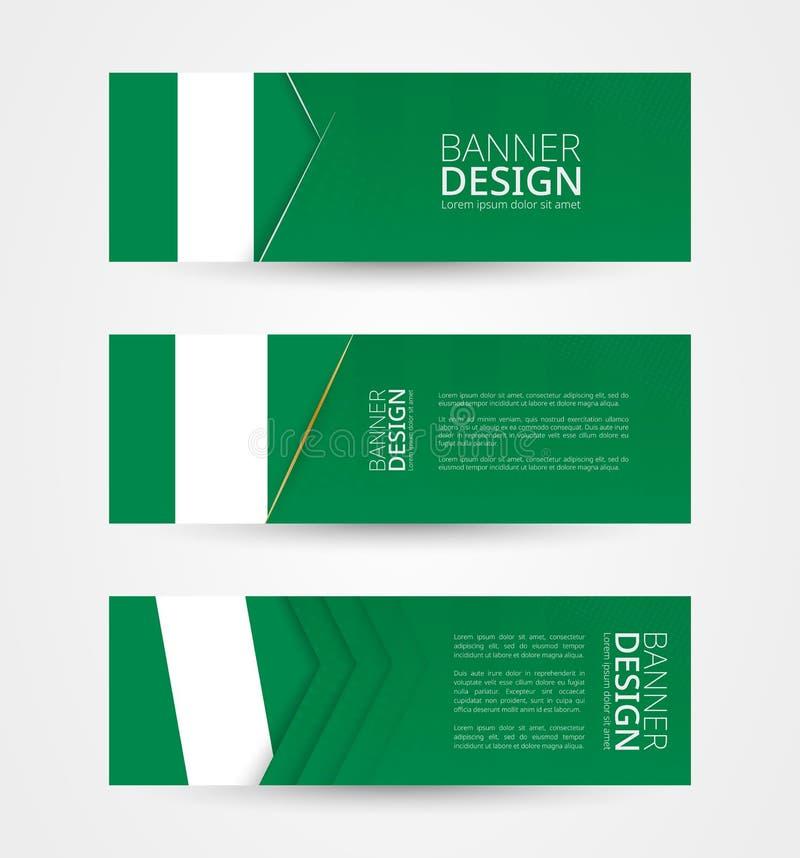 Set trzy horyzontalnego sztandaru z flagą Nigeria Sieć sztandaru projekta szablon w kolorze Nigeria flaga ilustracji