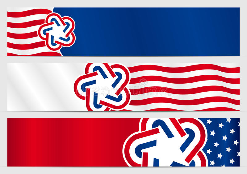 Set trzy horyzontalnego sztandaru z kolorami flaga Stany Zjednoczone royalty ilustracja