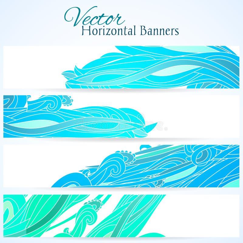 Set trzy sztandaru z wodną ręką rysującą macha royalty ilustracja