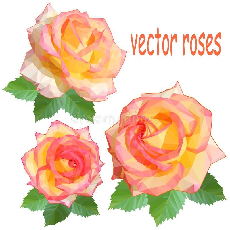 Set trzy ikony delikatne róże z liśćmi w niskim poli- stylu na białym tle royalty ilustracja