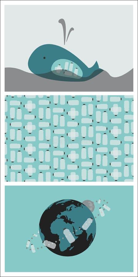 Set Trzy ilustraci z Ekological tematem: Klingeryt Butelkuje zanieczyszczenia zagadnienie ilustracji