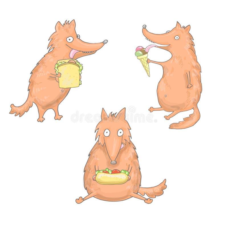Set trzy jeść lisa ilustracja wektor