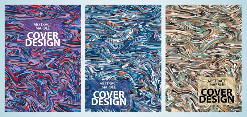 Set trzy marmuru pokrywy wektorowy kolorowy projekt, może używać dla ulotki, sztandar, czasopismo royalty ilustracja