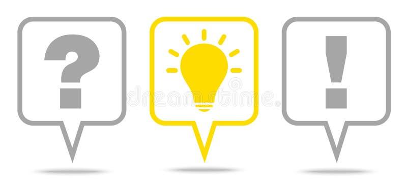 Set Trzy mowa bąbli pytania pomysłu odpowiedzi Popielaty I Żółty kontur royalty ilustracja