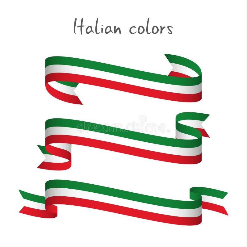 Set trzy nowożytny barwiony wektorowy faborek z Włoskim trico ilustracji