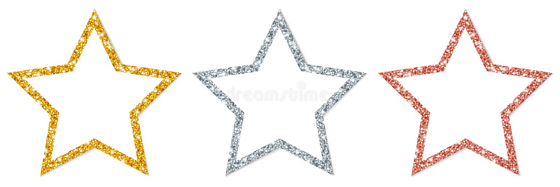 Set Trzy Obramiającej gwiazdy Błyska złota srebra groszaka royalty ilustracja