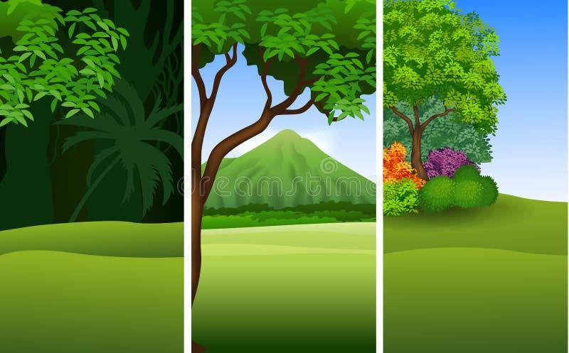 Set trzy piękny naturalny krajobrazowy tło ilustracji