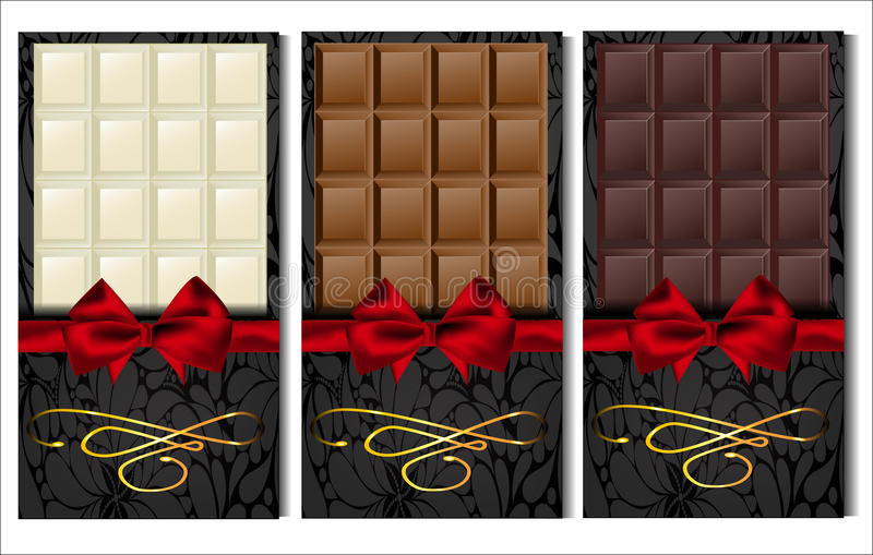 Set trzy rodzaju czekolada: zmrok, mleko i biel, royalty ilustracja