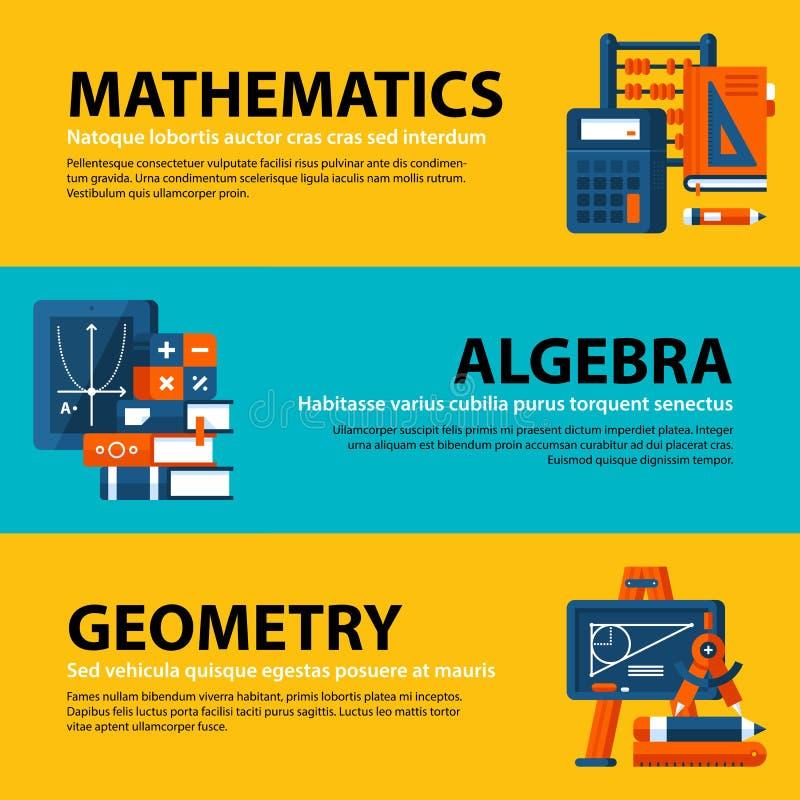 Set trzy sieć sztandaru o edukaci i szkoły wyższa tematach w płaskiej ilustraci projektuje Mathematics, algebra i geometria, royalty ilustracja