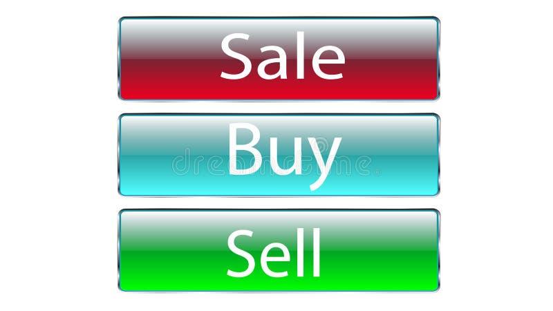 Set trzy szklany przejrzysty piękny wektor zapina dla naciskać sprzedaż, zakup, bubel czerwień, błękit, zieleń guzików ikony dla  royalty ilustracja