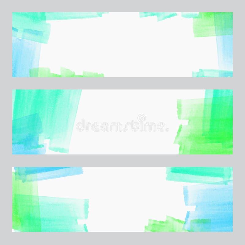 Set trzy sztandaru, abstrakcjonistyczni chodnikowowie z akwarelą patrzeje kolorowych uderzenia, abstrakcjonistycznego tła artysty ilustracji