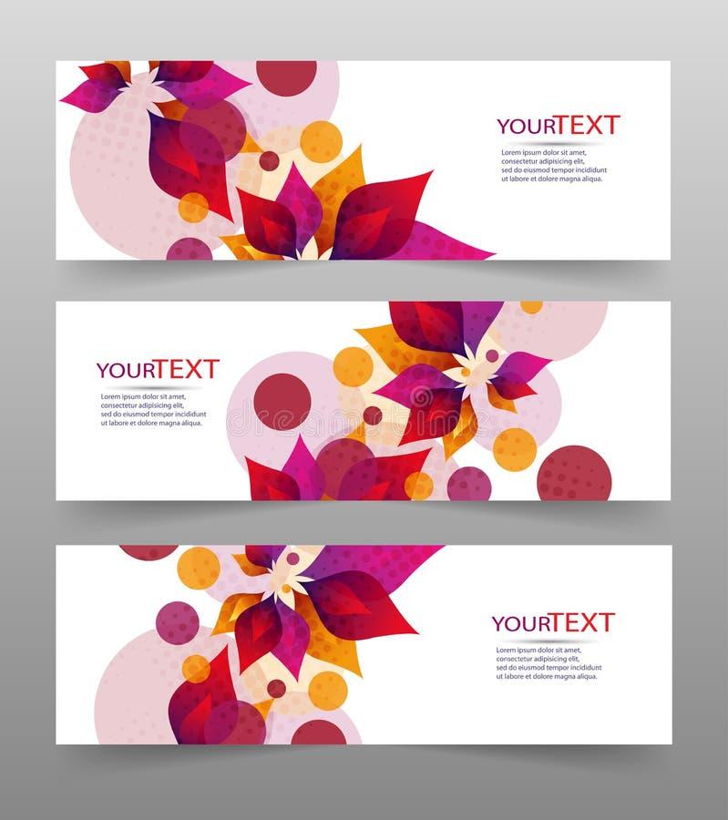 Set trzy sztandaru, abstrakcjonistyczni chodnikowowie z kolorowymi kwiecistymi elementami i miejscem dla twój teksta, ilustracja wektor