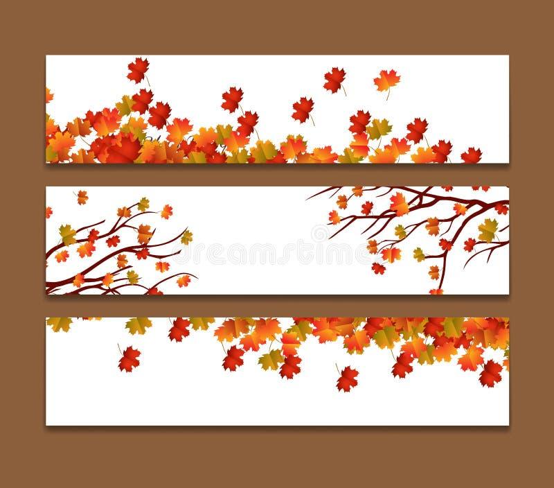 Set trzy wektorowego sztandaru z kolorowymi jesień liśćmi ilustracji