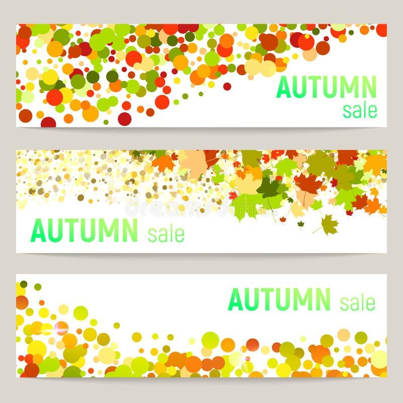 Set trzy wektorowego sztandaru z kolorowymi jesień liśćmi i okręgi na białym tle royalty ilustracja