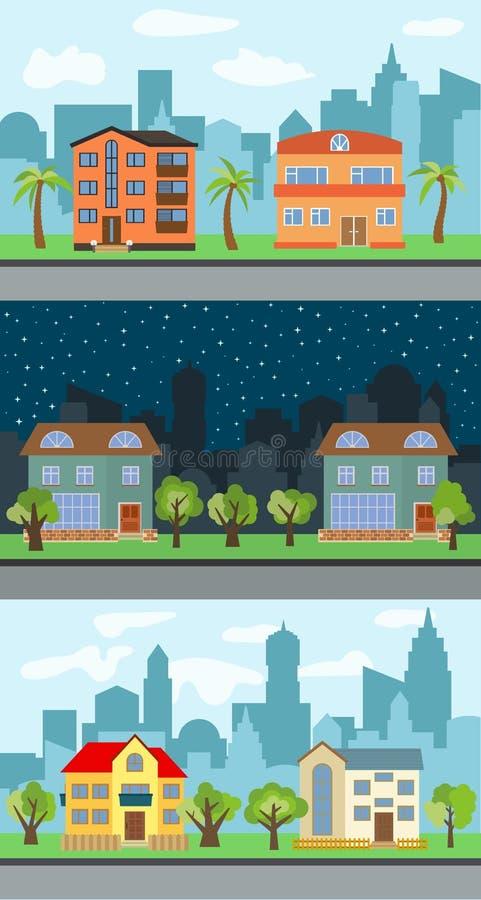 Set trzy wektorowej ilustracji miasto ulica z kreskówka domami ilustracja wektor