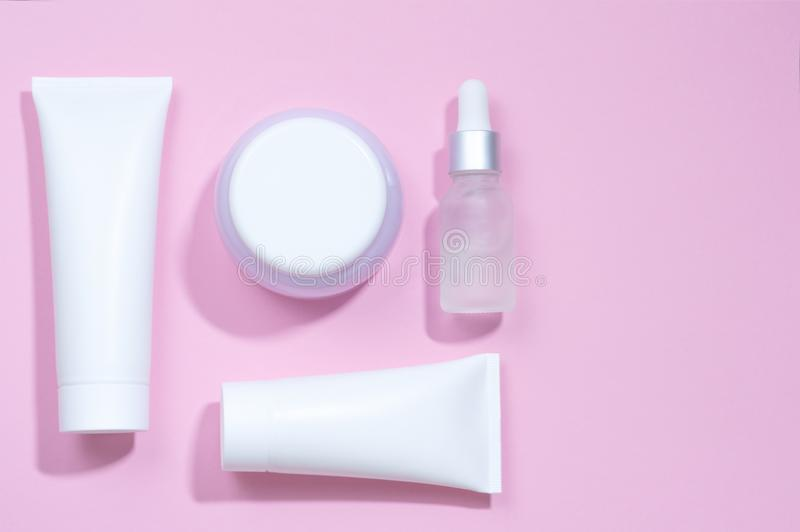 A set tubes of creams. Pastel colors. royalty free stock photos