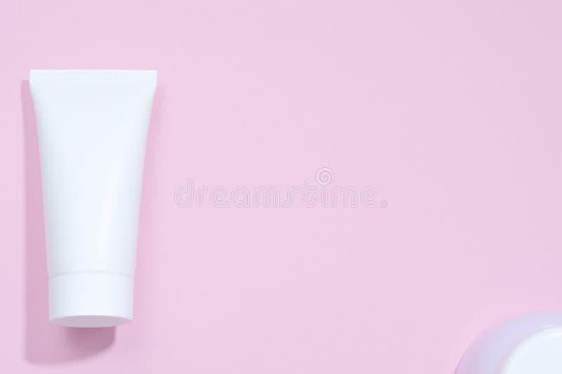 A set tubes of creams. Pastel colors. stock photo