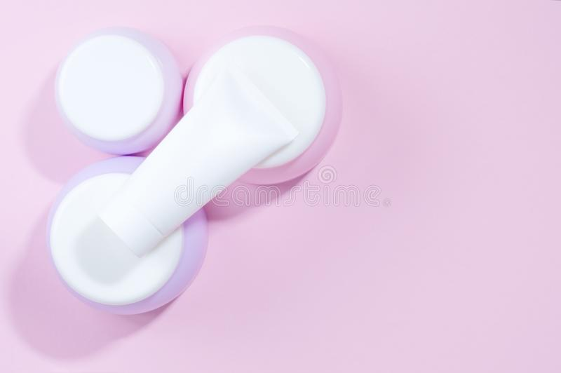 A set tubes of creams. Pastel colors. stock images