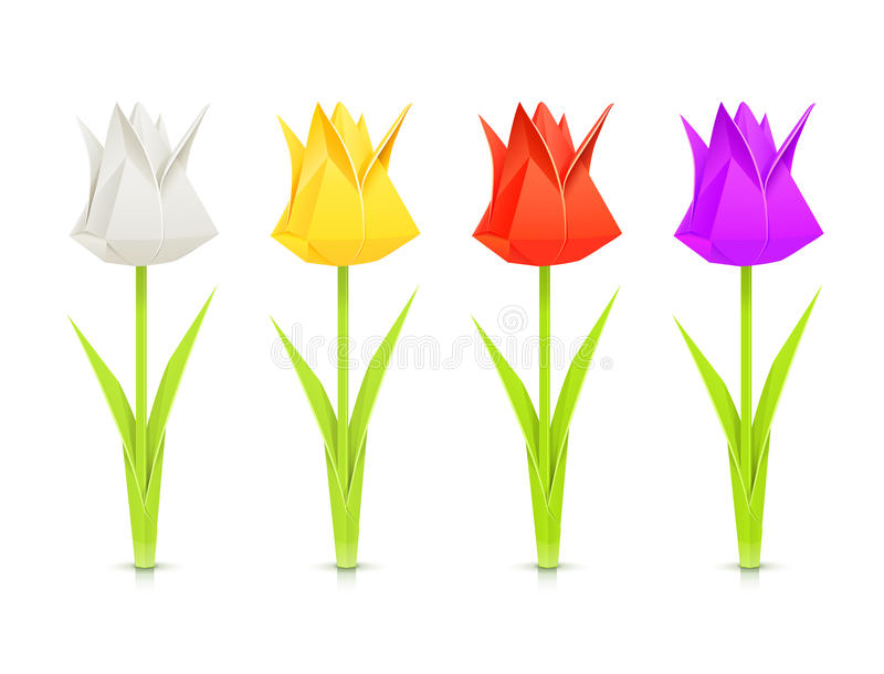 Set of tulips paper origami flowers vector illustration